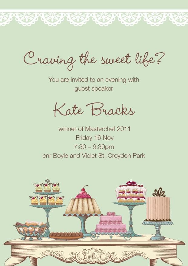 Nov 16 - Kate Bracks: Craving the Sweet Life?