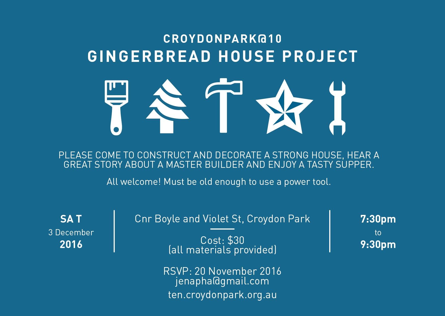 Gingerbread House Project Saturday 3 December