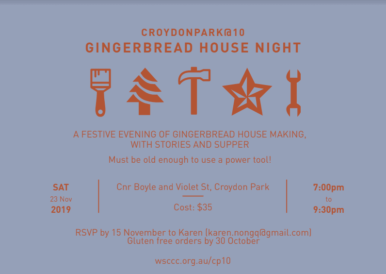 Saturday 23 November  - Gingerbread house night